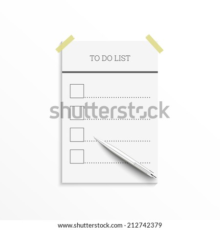 Notebook with to do list. Lines with check boxes and pen. checklist for note. Sheet with adhesive tape - stock vector