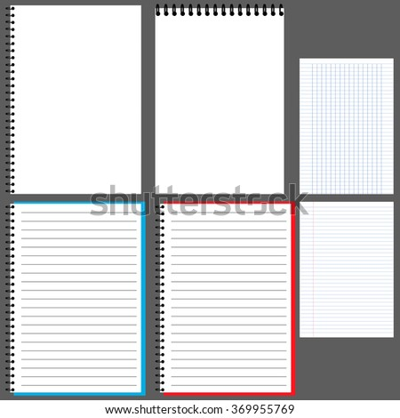 Notepad, album, notebook with spring, horizontal, Notepad, Notepad, vertical, open Notepad, in Notepad line Notepad in a cage.vector - stock vector