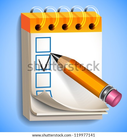 Notepad and pencil making check mark icon - vector illustration for your business presentations. - stock vector