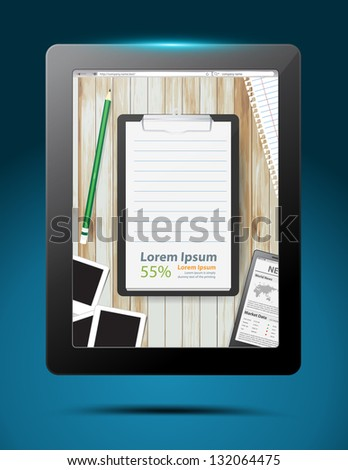 Notepad app design in tablet computer, Vector illustration modern template design - stock vector