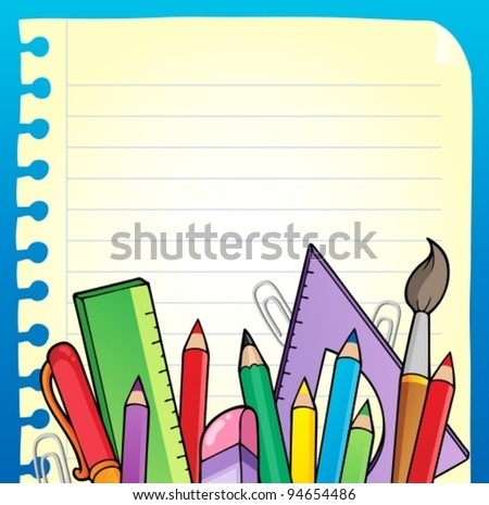 Notepad blank page and stationery 2 - vector illustration. - stock vector