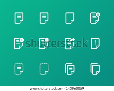 Notepad Document file and Note icons isolated on green background. Vector Illustration. - stock vector