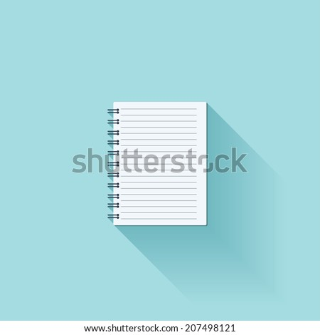 Notepad flat icon with shadow - stock vector