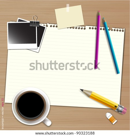 notepad for work idea with coffee and pencil on wood background - stock vector