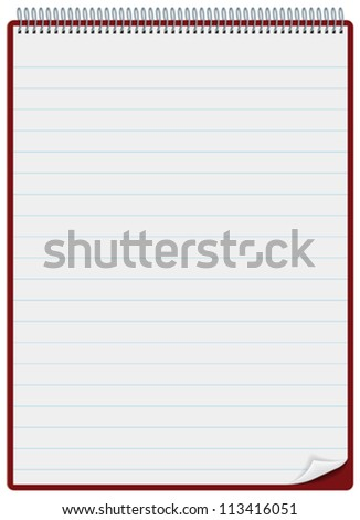 Notepad or clipboard with ruled pages and spiral bound - stock vector
