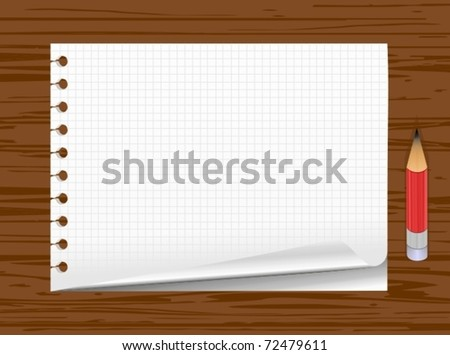 Notepad page with paper curl and pencil, isolated on wooden background - stock vector