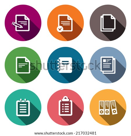 Notepad paper documents icons set - stock vector