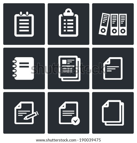 Notepad paper documents vector Icons set vector - stock vector