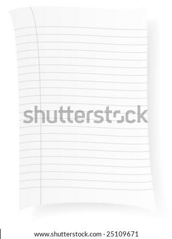 Notepad sheet isolated on a white background. Vector illustration.