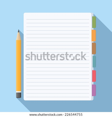 Notepad with bookmarks and pencil, vector eps10 illustration - stock vector