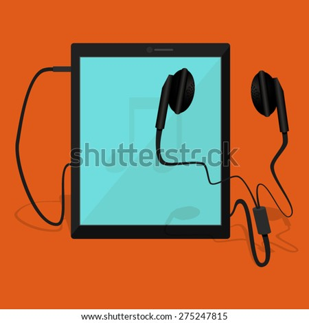 Notepad with pair of earphone - stock vector
