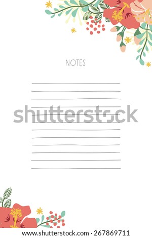 Notepad with white background and flower decoration placed in the corners. To use for a shopping list, or any other list to remember. Vector and illustration design. - stock vector