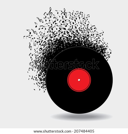 Notes buzz around this music background - stock vector
