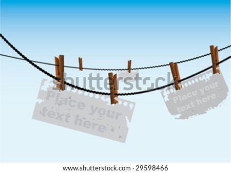 notes hanging on a clothesline