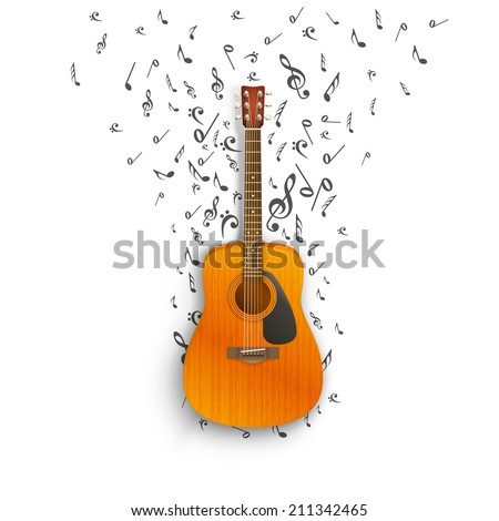 Notes off of the guitar. Vector illustration - stock vector
