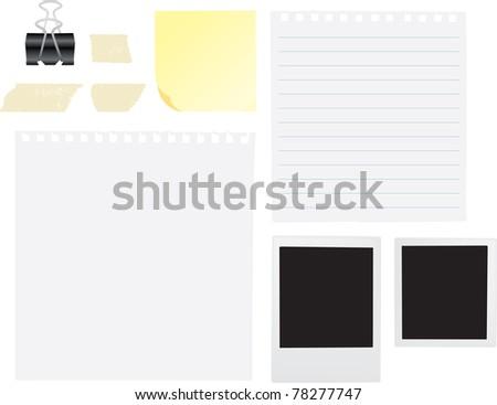 Notes Tape Plain Paper Notes Scrapbook Stock Vector 78277747