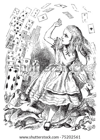 Nothing but a pack of cards. At this whole pack rose up into the air, and came flying down upon her... Alice's Adventures in Wonderland. Illustration from John Tenniel, published in 1865. - stock vector