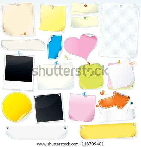 Notice Board Paper Notes, Stickers, Labels and Memo Sticks. Isolated Vector Objects - stock vector