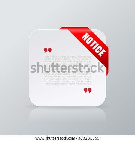 Notice quote text paper card, vector illustration on grey background - stock vector