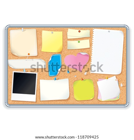 Noticeboard Cork Board with a Various Paper Notes, Stickers. Editable Vector Isolated on White Background - stock vector