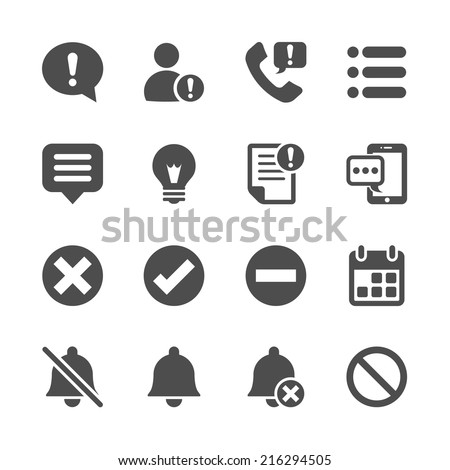 notification and information icon set, vector eps10. - stock vector