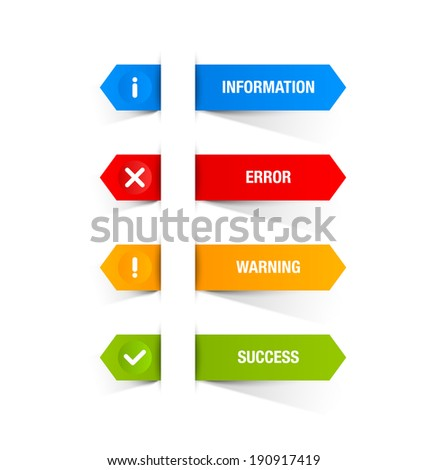 Notification icons and buttons suitable for custom web design and computer purposes - stock vector