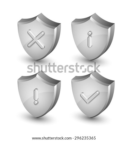 Notification shield icons suitable for custom web design and computer purposes - stock vector