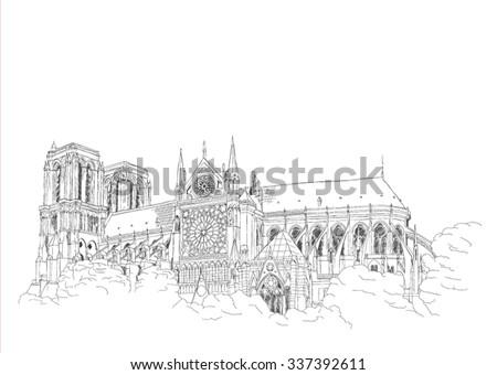 Notre Dame Carthedral in Paris - urban sketch - stock vector