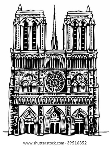Notre Dame cathedral illustration - stock vector