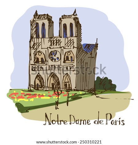 Notre Dame de Paris. France. Vector illustration. - stock vector