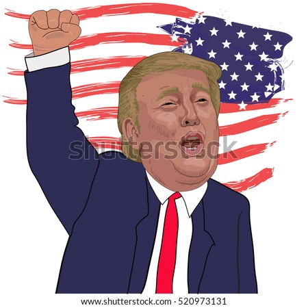 November 21, 2016: A vector illustration of a portrait of Republican Presidential  Candidate Donald Trump raised his  raise his arm up on national flag background.