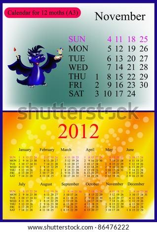 November. 2012 Calendar.Dark blue dragon-New Year's a symbol of 2012. A3 - stock vector