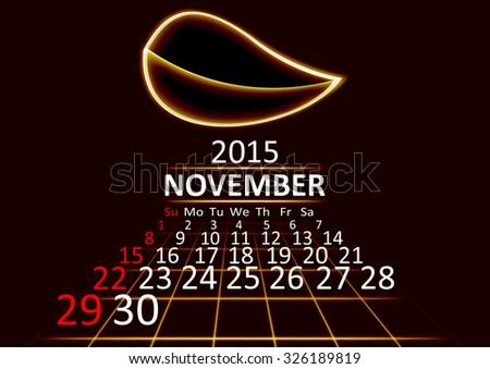 November 2015 calendar dark technology 3d style abstract background. Vector Illustration. - stock vector