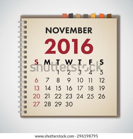 November 2016 Calendar Notebook Vector  - stock vector