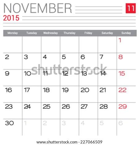 November 2015 calendar vector design template. Simple blank calendar illustration. - stock vector