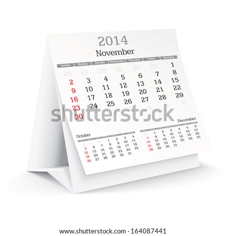 november 2014 - calendar - vector illustration