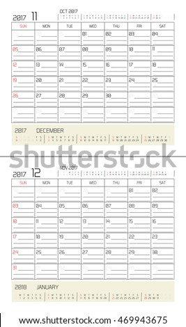 November & December  2017 -planning calendar / Calendar to schedule monthly - March & April 2017