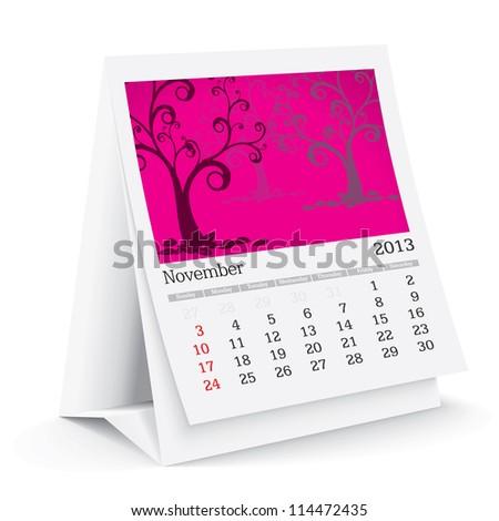 november 2013 desk calendar - stock vector