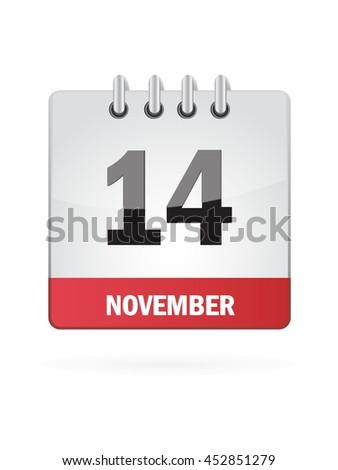 November Fourteen. Calendar Icon - stock vector