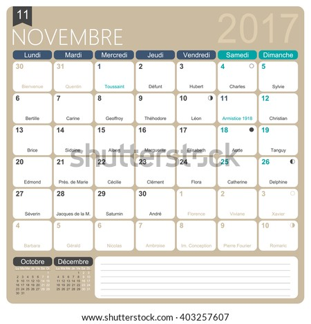 November 2017 French Printable Monthly Calendar Stock Vector