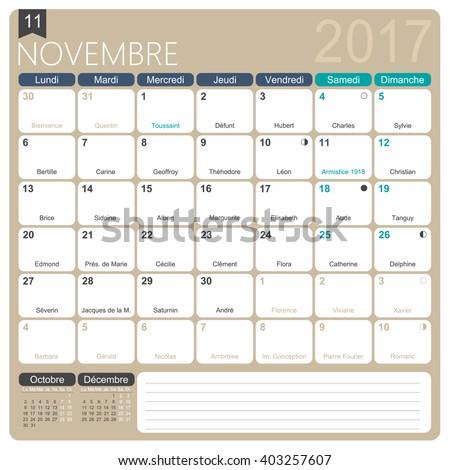 November 2017 French Printable Monthly Calendar Stock Vector