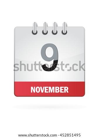 November Nine. Calendar Icon - stock vector