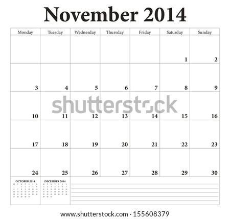 November 2014 -planning calendar. Weeks start on Monday. - stock vector