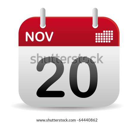 november red calendar stand up - stock vector