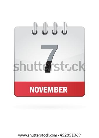 November Seven. Calendar Icon - stock vector