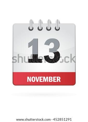 November Thirteen. Calendar Icon - stock vector