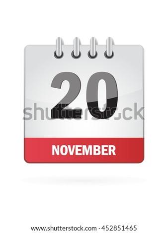 November Twenty. Calendar Icon - stock vector
