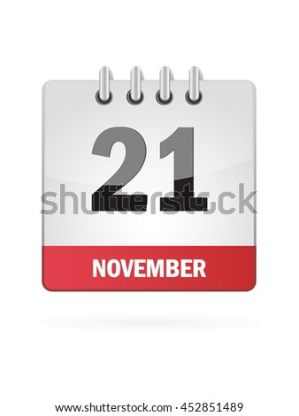 November Twenty One. Calendar Icon