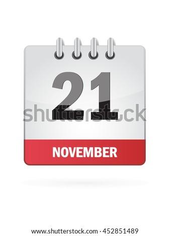 November Twenty One. Calendar Icon - stock vector