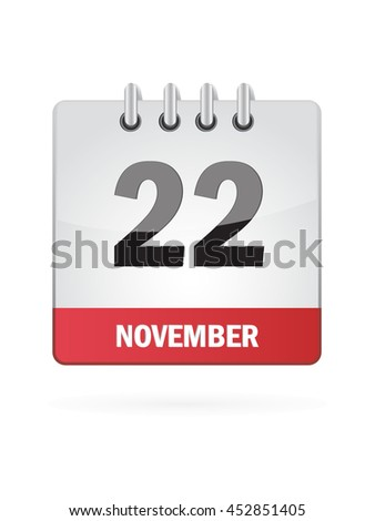 November Twenty Two. Calendar Icon